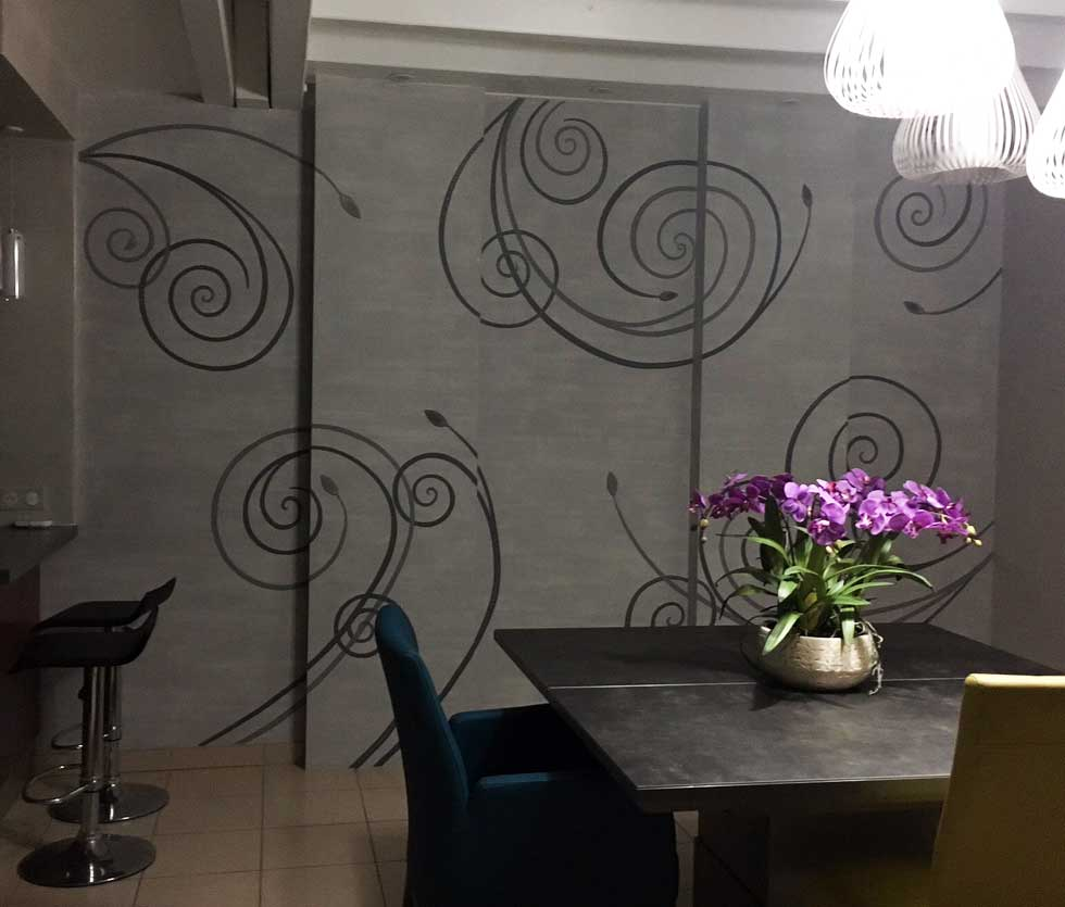 Décorations, wall design d'arabesques et volutes